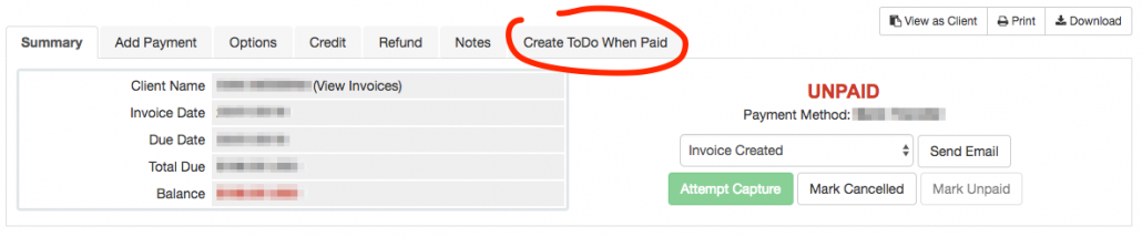 WHMCS create a todo after an invoice has been paid from invoice tab